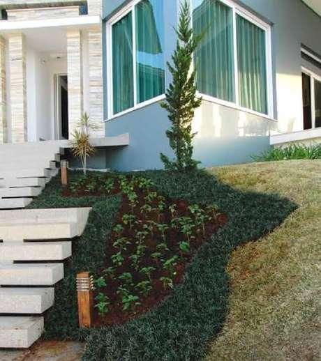26. Jardim charmoso conta com grama preta e pinheiro. Fonte: Pinterest