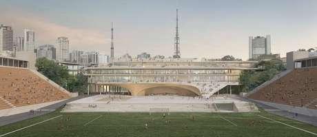 Imagem do projeto de modernização do Pacaembu