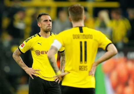 Paco Alcacer, do Borussia Dortmund, reage após a equipe empatar em casa com o Werder Bremen. 28/09/2019. REUTERS/Leon Kuegeler
