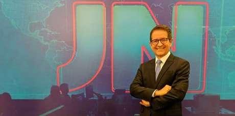 Carlos Tramontina no estúdio do 'JN' no Rio: retorno ao telejornal do qual já foi apresentador eventual