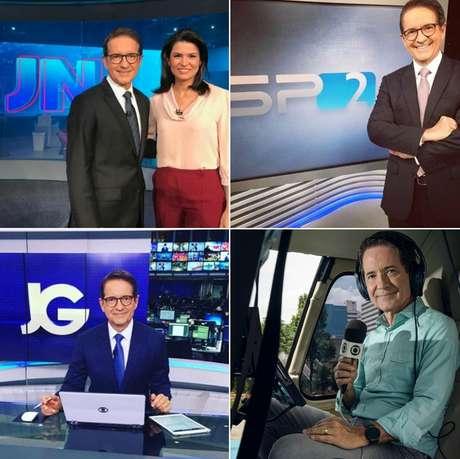 Acima, Tramontina com a colega de bancada no 'JN' Priscilla Castro e no telejornal campeão de audiência em SP; abaixo, na bancada do 'Jornal da Globo' e a bordo do Globocop a fim de gravar matéria para o 'Antena Paulista'