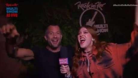 O ator Malvino Salvador e Ana Clara, durante a transmissão do Rock in Rio 2019, no Multishow.