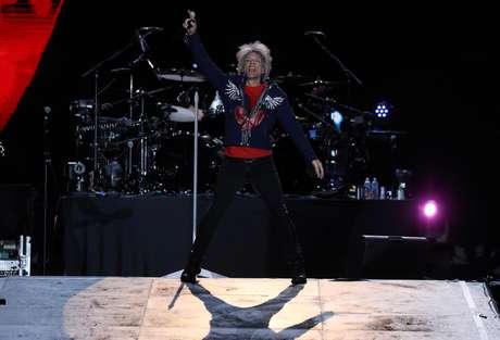 O vocalista Jon Bon Jovi canta no Rock in Rio