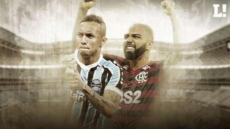 Everton, do Grêmio, e Gabigol, do Flamengo, impulsionam os valores dos elencos (Arte: Marina Cardoso/Lance!)