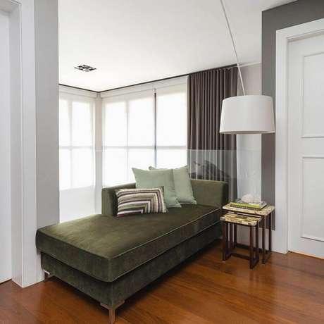 22. Decoração com sofá verde musgo de canto – Foto: Asenne Arquitetura
