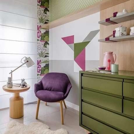 27. Saiba as cores que combinam com verde musgo para deixar o seu ambiente mais bonito – Foto: Andrea Murão