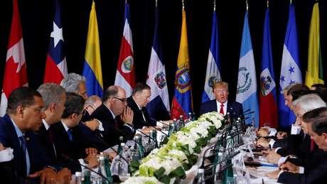 Antes dos representantes da Argentina, Brasil, Colômbia, Chile, Equador e Peru, Trump disse pertencer a uma 'coalizão histórica' de 55 países que reconhece Guaidó como presidente da Venezuela.
