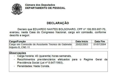 Registro oficial do Departamento Pessoal do cargo que Eduardo exerceu na Câmara