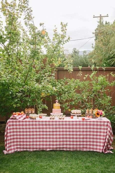 62. A toalha vermelha xadrez é um clássico da decoração de piquenique – Foto: Kara's Party Ideas