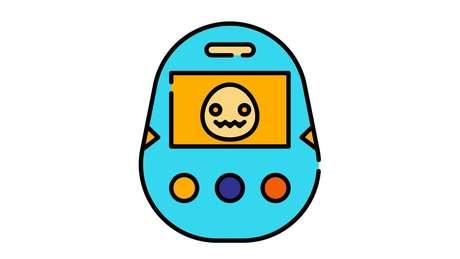 Ilustração de um Tamagotchi, pet virtual que foi popular nos anos 1990
