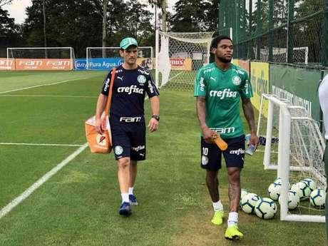 Luiz Adriano fez atividades com o preparador físico Marco Aurélio Schiavo (Foto: Thiago Ferri/Lancepress!)