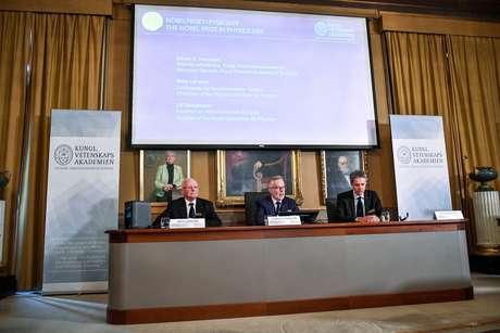 Prêmio Nobel de Física 2019 é anunciado na Academia Real das Ciências da Suécia, em Estocolmo