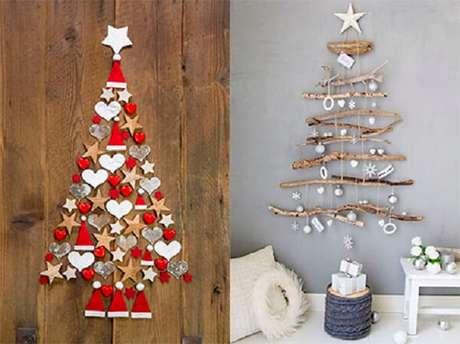 61. Árvore de Natal na parede feita com design simples e barato. Fonte: MdeMulher