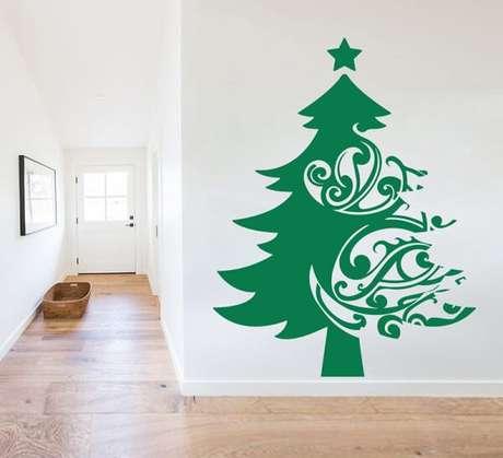3. Adesivo de árvore de Natal para parede em tom de verde. Fonte: Pinterest