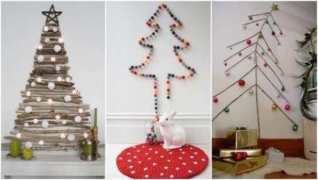 37. Árvore de Natal na parede com design criativo. Fonte: Pinterest
