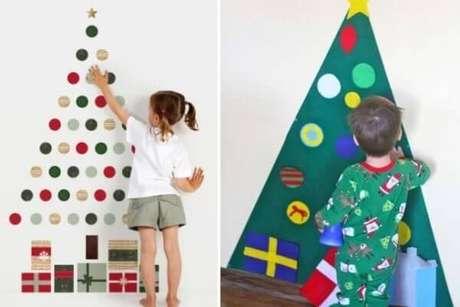 77. Chame as crianças para montar a árvore de Natal na parede. Fonte: Pinterest