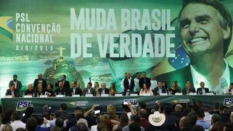 Convenção do PSL que oficializou candidatura de Jair Bolsonaro em 2018; crise do presidente com seu partido foi tornada pública nesta terça-feira