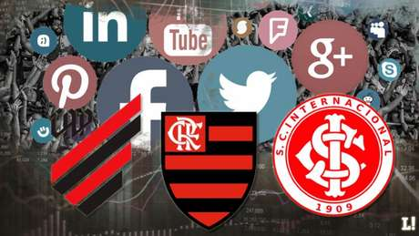 Athletico, Flamengo e Internacional foram os clubes que mais cresceram nas redes sociais (Arte:Lance!)