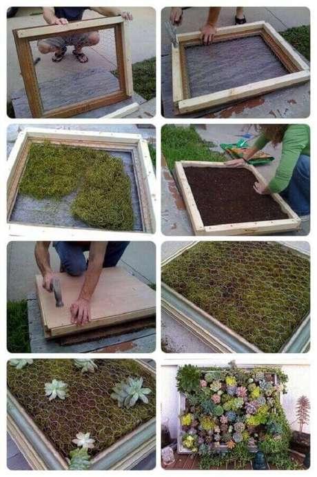 32. Mini tutorial sobre como montar um jardim de suculentas vertical. Fonte: Pinterest