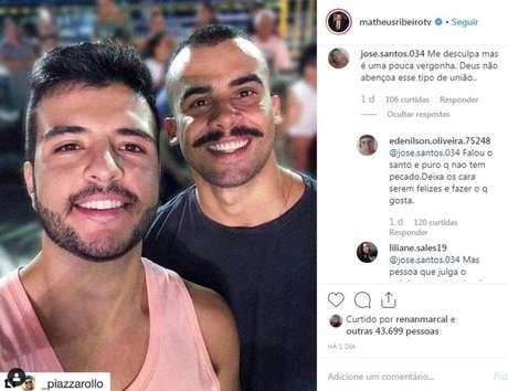 O jornalista Matheus Ribeiro, apresentador da TV Anhanguera, afiliada da Rede Globo, e Yuri Piazzarollo, da Força Nacional de Segurança.