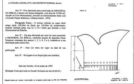 Redação final do projeto de lei Memorial da Bíblia' foi publicado no Diário Oficial em 1995