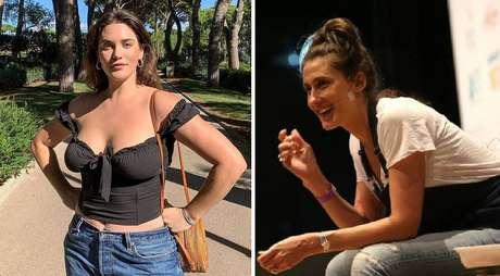 Para muitas internautas, incluindo Paola Carosella (à direita), Alie Tate-Cutler (à esquerda) não corresponde a uma modelo 'plus size' e endossa um padrão de beleza que prejudica a autoestima de mulheres realmente acima do peso.