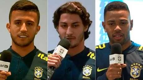 Matheus, Marcinho e Lodi (respectivamente) divertiram os atletas em apresentação (Foto: Reprodução/CBF)