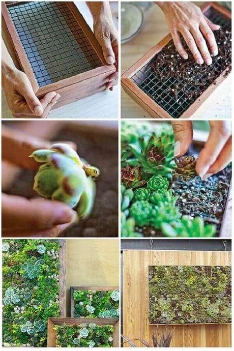 34. Passo a passo simples de como montar um jardim de suculentas vertical. Fonte: Pinterest