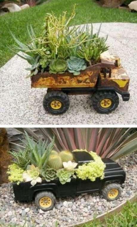 53. Suporte criativos para formar um lindo jardim de suculentas. Fonte: Pinterest
