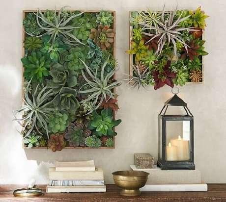 25. Jardimde suculentas vertical traz frescor ao ambiente. Fonte: Pinterest