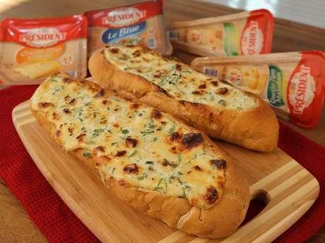Baguete aos quatro queijos