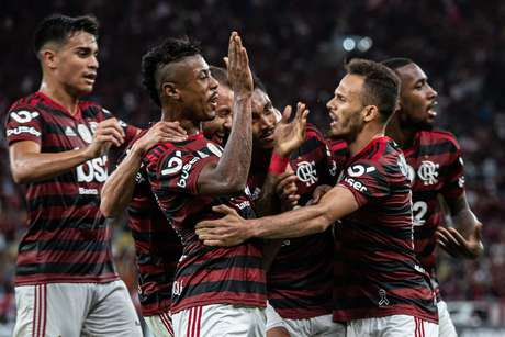 Comemoração do gol de Vitinho, do Flamengo, em partida contra o Atlético Mineiro, válida pela 24ª rodada do Campeonato Brasileiro 2019, no estádio do Maracanã