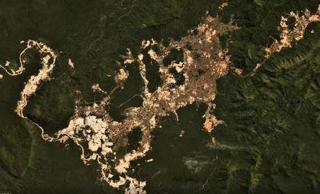 Garimpo no rio Fresco, na Terra Indígena Kayapó, em foto de julho de 2019; atividade se intensificou desde o início do governo Jair Bolsonaro