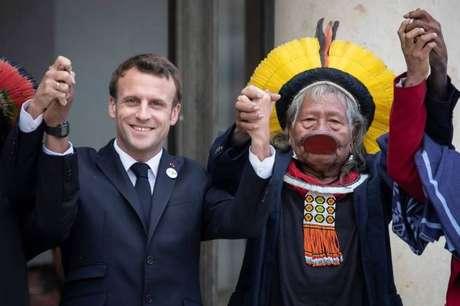 O presidente da França, Emmanuel Macron, recebeu Raoni no Palácio do Eliseu, em maio, quando se comprometeu a apoiar suas bandeiras