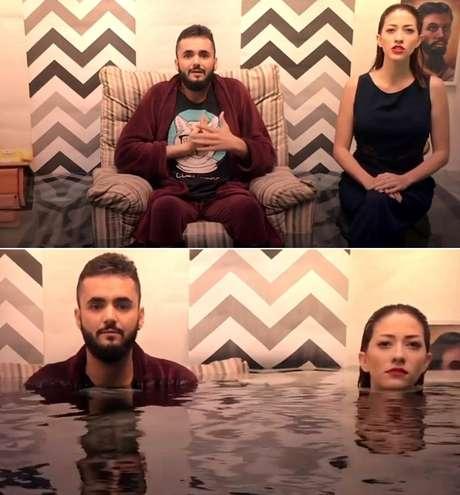 Nattan e Milla no clipe de O Mergulho: a água subindo perigosamente é uma alusão à sensação de afogamento da pessoa com depressão