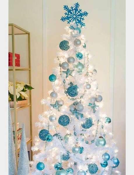 17. Para dar um toque leve na decoração invista na cor azul para o kit enfeites para árvore de Natal – Foto: Decoration For Home