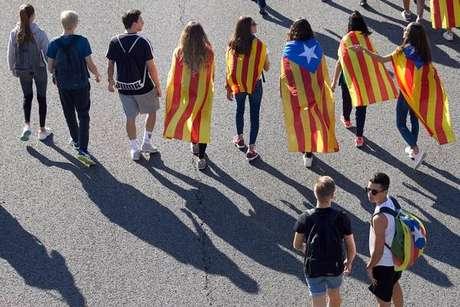Marcha pró-independência em Barcelona, capital da Catalunha