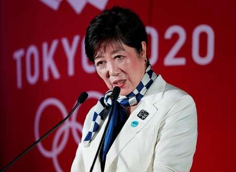 Governadora de Tóquio, Yuriko Koike, discursa em evento para comemorar um ano para a Olimpíada de 2020 24/07/2019 REUTERS/Issei Kato