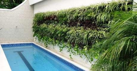 53. Aproveite a parede lateral da piscina para criar um lindo jardim vertical artificial. Fonte: Pinterest
