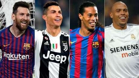 Messi, CR7, R10 e Fenômeno estão entre os seis primeiros (Foto: Divulgação)