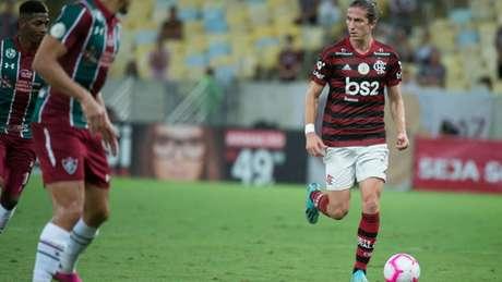 Filipe Luís em ação contra o Fluminense (Alexandre Vidal / Flamengo)