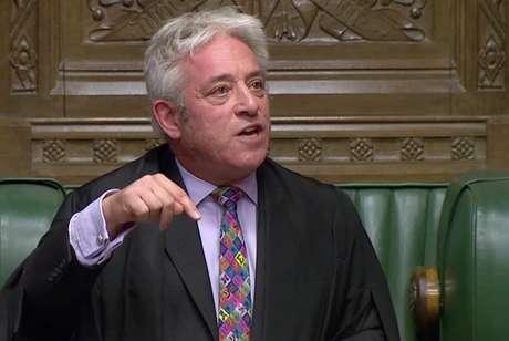 Presidente da Câmara dos Comuns do Reino Unido, John Bercow, durante sessão da Casa em Londres 21/10/2019 Parliament TV via REUTERS