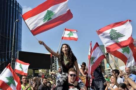 Protestos contra o governo em Beirute, capital do Líbano