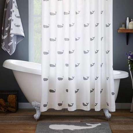 14. Os desenhos de sua cortina para banheiro podem ser muitos. Foto: Decorative Accents