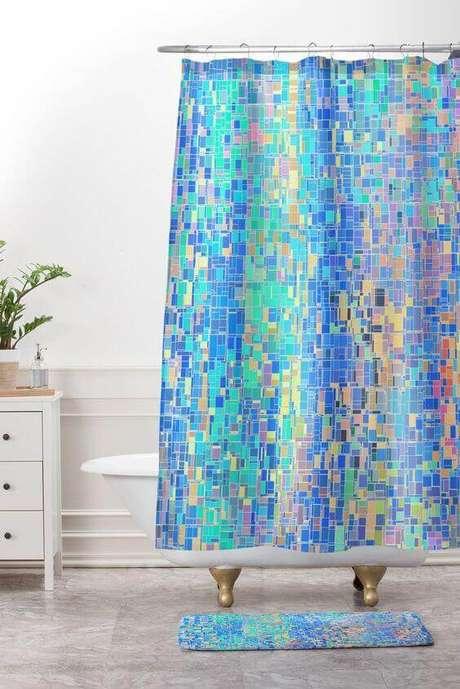 1. A cortina para banheiro é parte fundamental em qualquer casa. Foto: Deny Designs