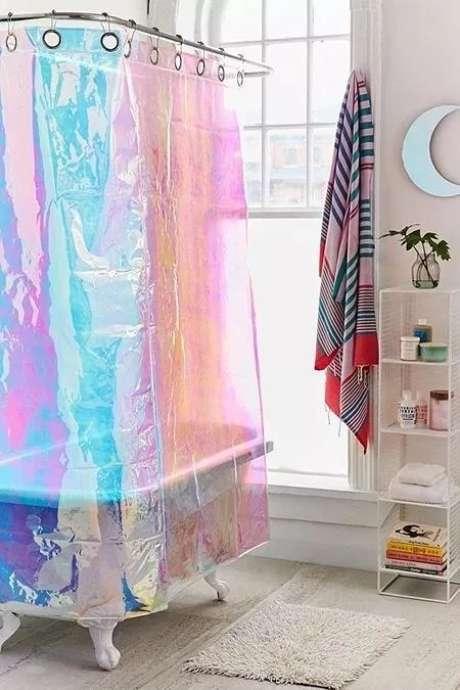 46. Sua cortina para banheiro pode ser até mesmo holográfica. Foto: Locotovie