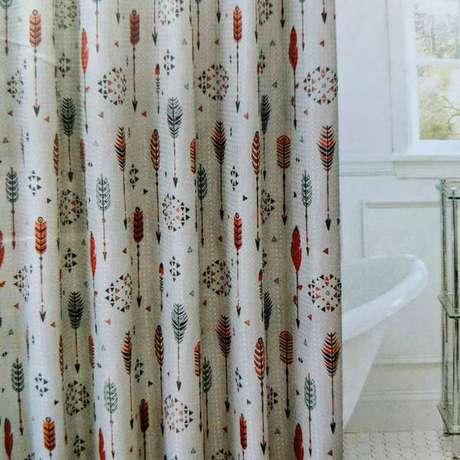 35. Esta cortina para banheiro brinca com os desenhos. Foto: Dicas Decor