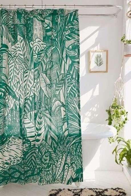 29. A cortina para banheiro pode ser um excelente item decorativo. Foto: DIYcore