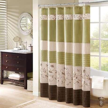 58. Os detalhes podem fazer toda a diferença na cortina para banheiro. Foto: Totally Furniture
