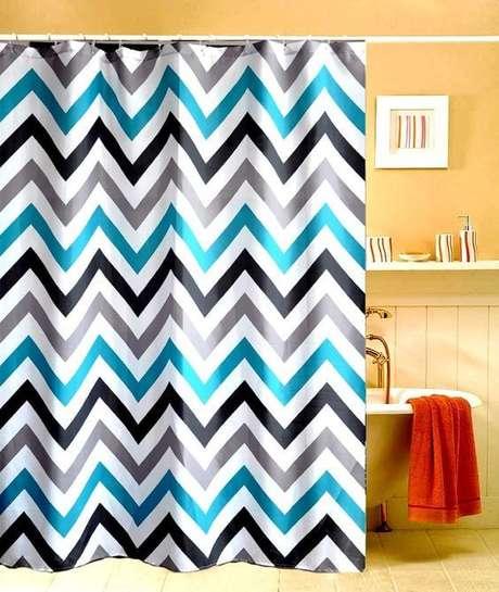 26. Padrões geométricos são comuns na cortina para banheiro. Foto: Mercado Livre